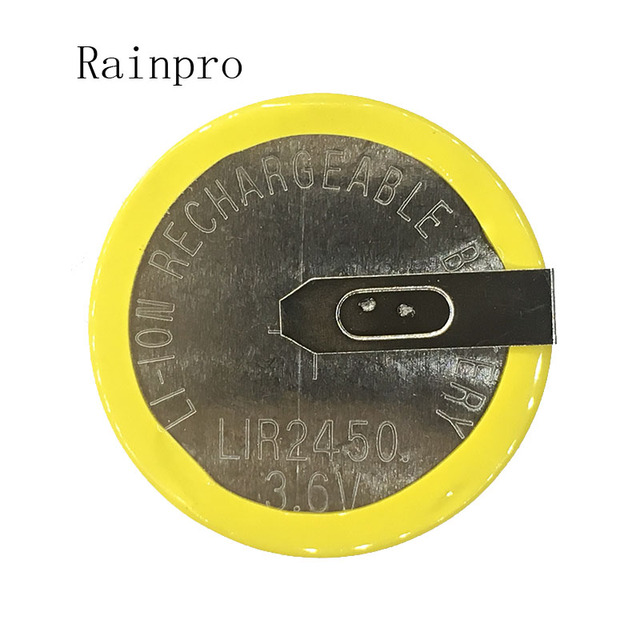 Rainpro 2 Pz/lotto LIR2450 Orizzontale Piede di Saldatura Delle Cellule Della Moneta Della Batteria 3.6V Ricaricabile Ricarica Della Batteria 2450