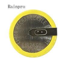Rainpro, 2 unidades/lote LIR2450, batería de pie de soldadura horizontal, 3,6 V, pila de moneda recargable, batería de carga 2450