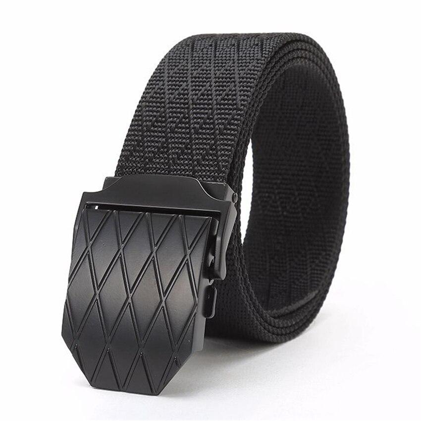 6 Colors Antiseptic Tactical Long Belt Black Chain On Jeans Lattice Metal Buckle Elastic True Nylon Canvas Waist Belt Men's Gift