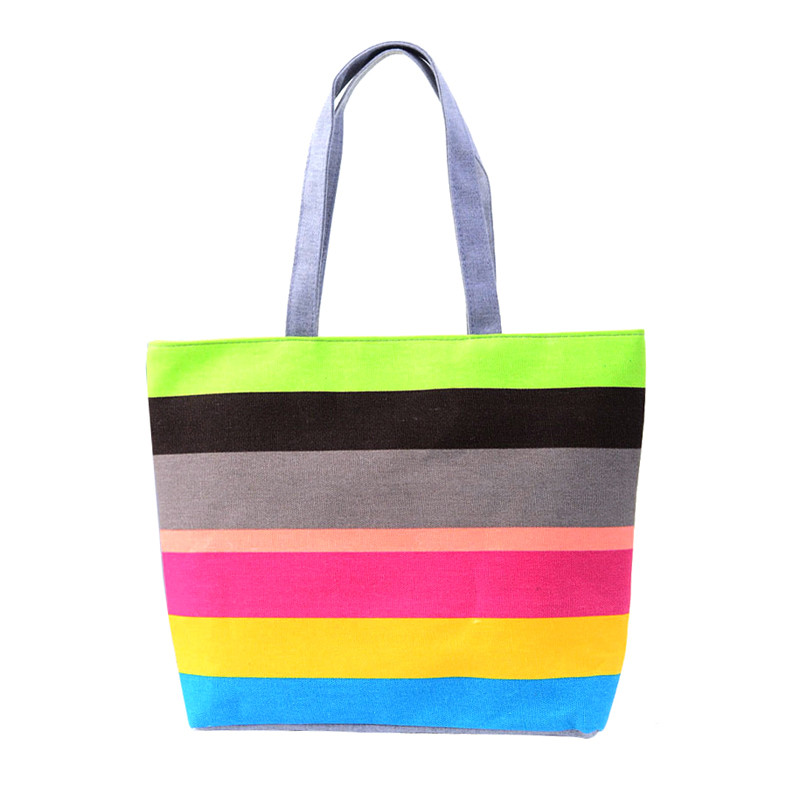 2016 Women Beach Canvas Bag Fashion Color Stripes Printing Handbags Ladies Large Shoulder Bag Totes Casual Bolsa Shopping Bags forudesigns casual women handbags peacock feather printed shopping bag large capacity ladies handbags vintage bolsa feminina
