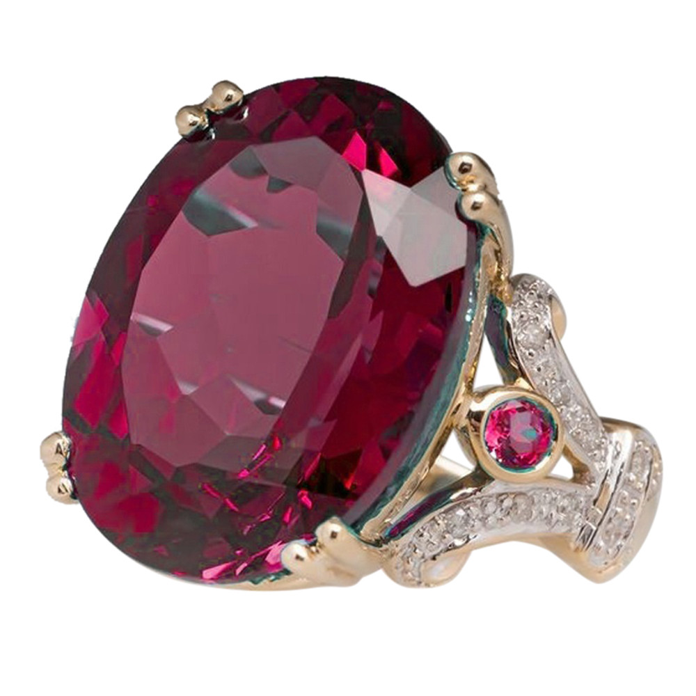 FREE Jewelry Fashion round wine red gems ladies ring 3