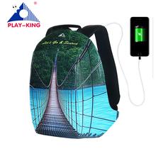 Man Anti Theft Backpack For Laptop With USB Charger Printing Backpack For Girls Teenagers Schoolbag Male Tigernu Mochila Escolar lovebook backpack female schoolbag for girls teenagers large women backpack with anti theft external usb ladies bags pu 2018