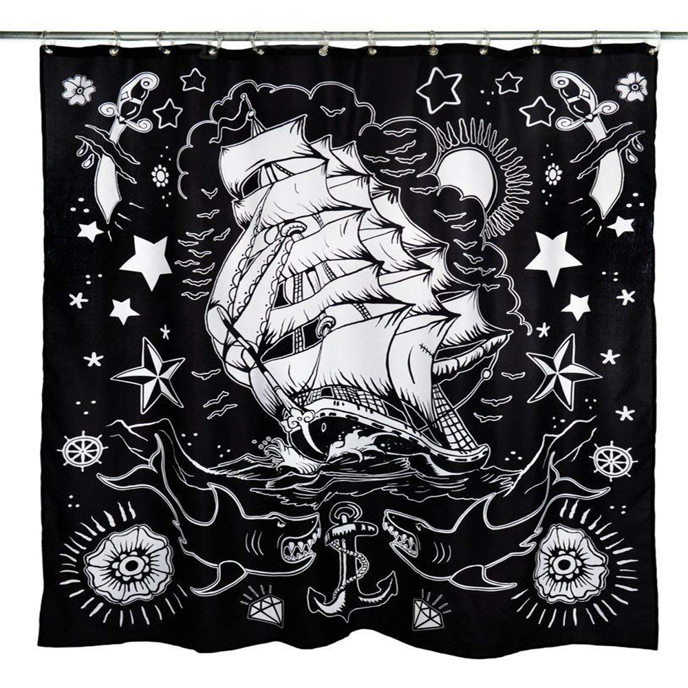 Detail Feedback Questions About Unisex Apparel Nautical Tattoo Shower Curtain Black On Aliexpress