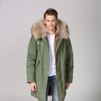 Natural Color Casual Wear Long Miltary Thickness Natural Fur Lined Fur Down Jacket&Coat