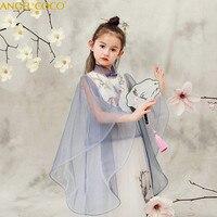 2 Pieces Chinese Girls Dress Embroidery Princess Dress Children Party Wear Lace Veil Flower Girl Wedding Dress Baby Girls Dress