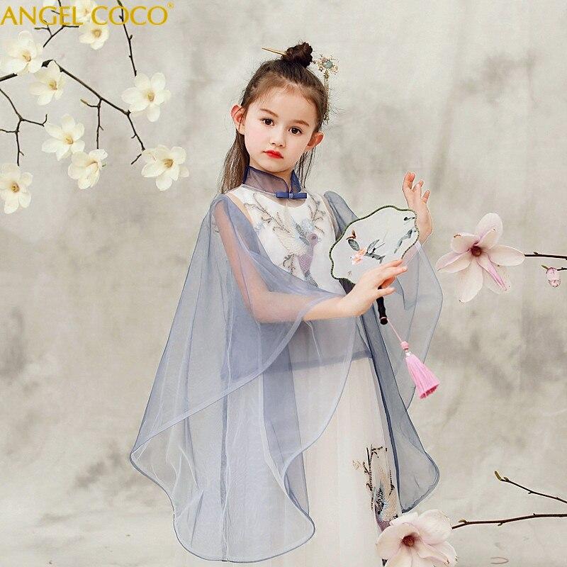 2 pièces chinois filles robe broderie princesse robe enfants fête porter dentelle voile fleur fille robe de mariée bébé filles robe