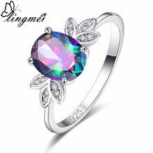 Женское кольцо с фианитом lingmei овальное разных цветов голубым