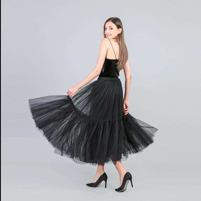 3 Colors 90 cm Runway Luxury Soft Tulle Skirt Hand-made Maxi Long Pleated Skirts Womens Vintage Petticoat Voile Jupes Falda 2