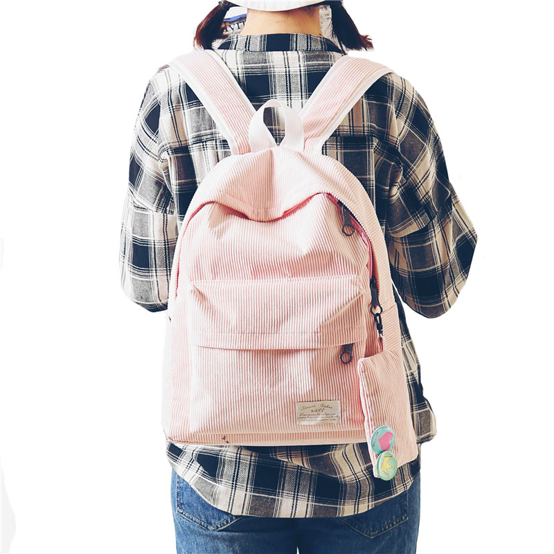 Women Pink Black Corduroy Backpack With Purse Simple Tote School Bags For Teenager Girls Students Shoulder Bag Travel Bag bxq180
