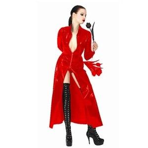 Image 5 - Fantasia sexy de couro feminino, vestido gótico com aparência molhada de pvc falso látex recarregado sexy halloween unissex