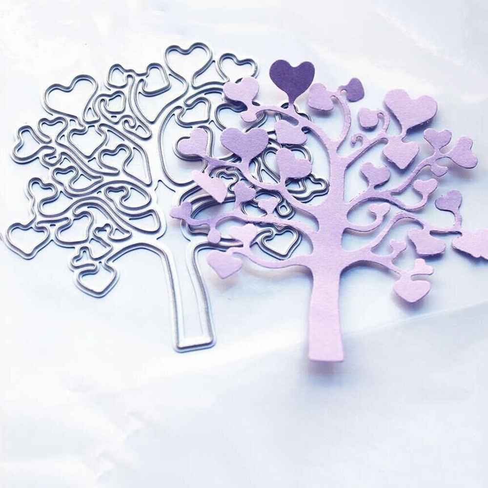 Adv-one Heart Tree Metal Cutting Dies and Clear Stamp Set for DIY Scrapbooking Photo Album Decoretive Embossing Stencil ...