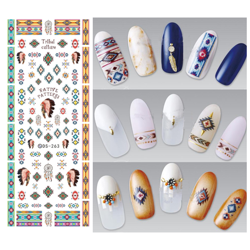 3pcs 2017 Water Transfer Nails Art Sticker Indian Style Vine Cool Nail Stickers Ongles