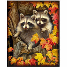 full 5D Diamond Embroidery Beads Raccoon and leaves icon Cross Stitch Diamond Painting DIY Diamond Mosaic Picture of Rhin(China)