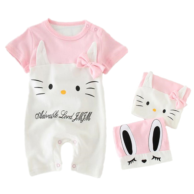 81a00ded5969 Summer Baby Girls Rompers 100% Cotton Short Sleeve Newborn Toddler ...