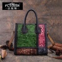 2018 Panelled Women Handbag Embossed Genuine Leather Top handle Shoulder Bags Handmade Cow Leather Messenger Bag English Letter