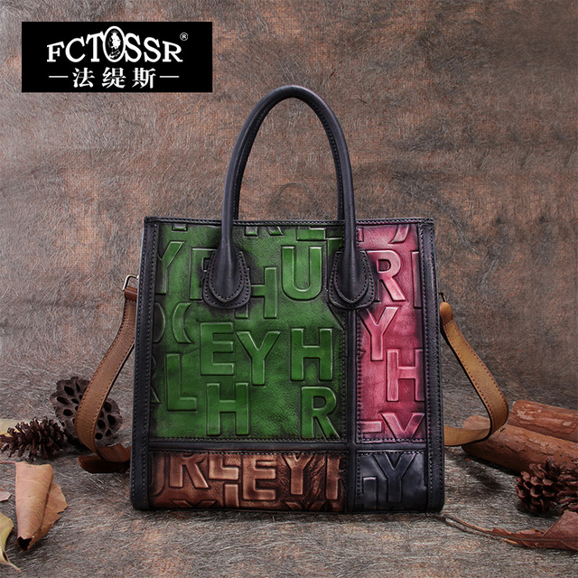 2019 Panelled Women Handbag Embossed Genuine Leather Top-handle Shoulder Bags Handmade Cow Leather Messenger Bag English Letter