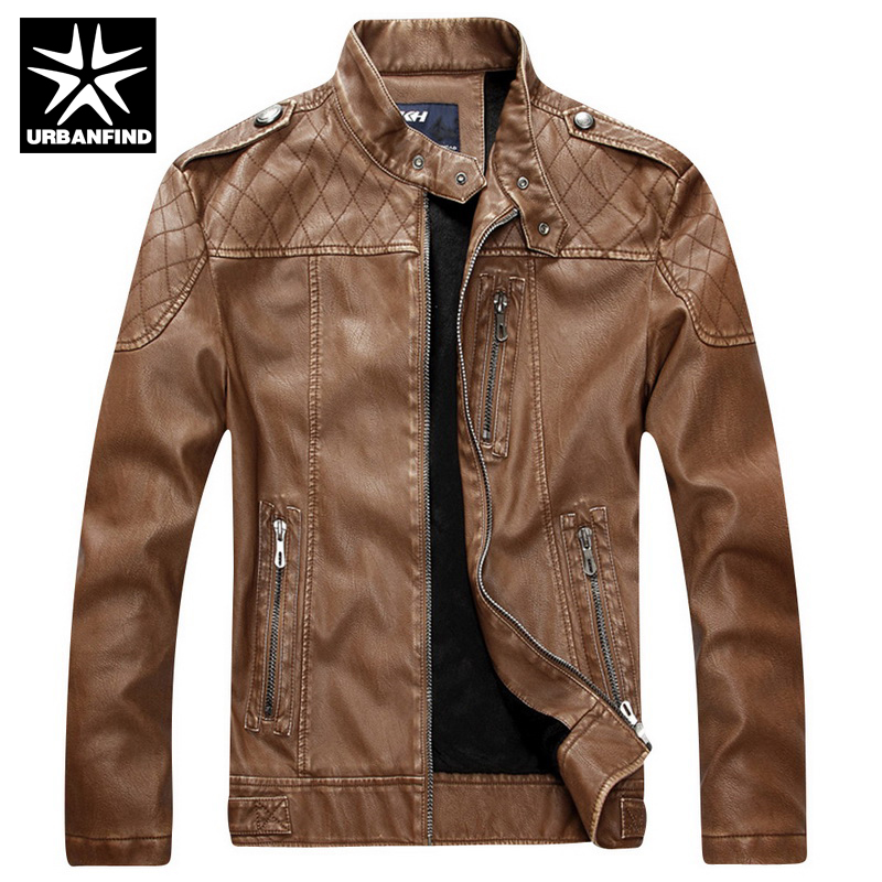 URBANFIND Brand Fashion Men Leather Jacket Fur Coats Size M-2XL Stand Collar Man Slim Fit Jackets Black / Coffee / Yellow