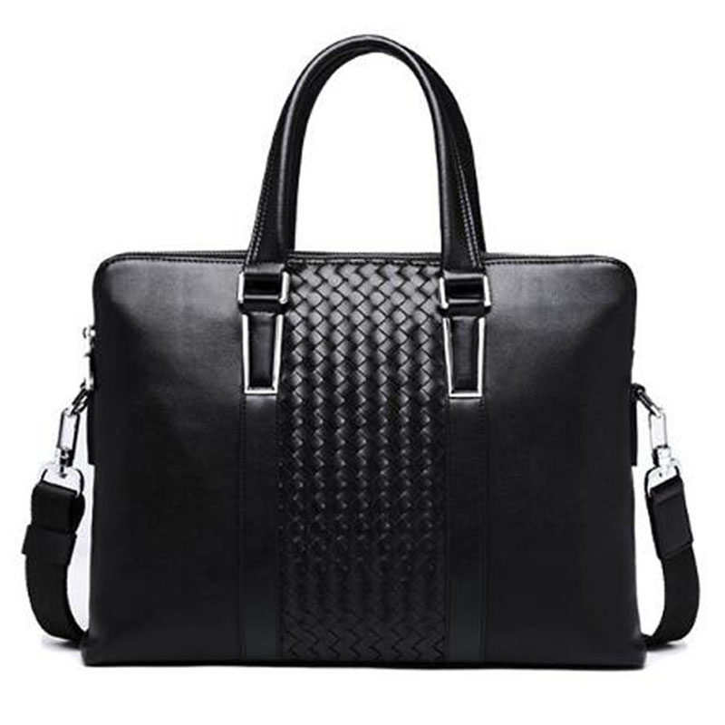 GSQ Genuine Leather Men Handbag Classic High Quality Leather Bag Business Men Bag 14inch Laptop Briefcase Messenger Bag G59593 new high quality leather men laptop briefcase bag 14 inch computer bags handbag business bag fashion laptop handbag for men