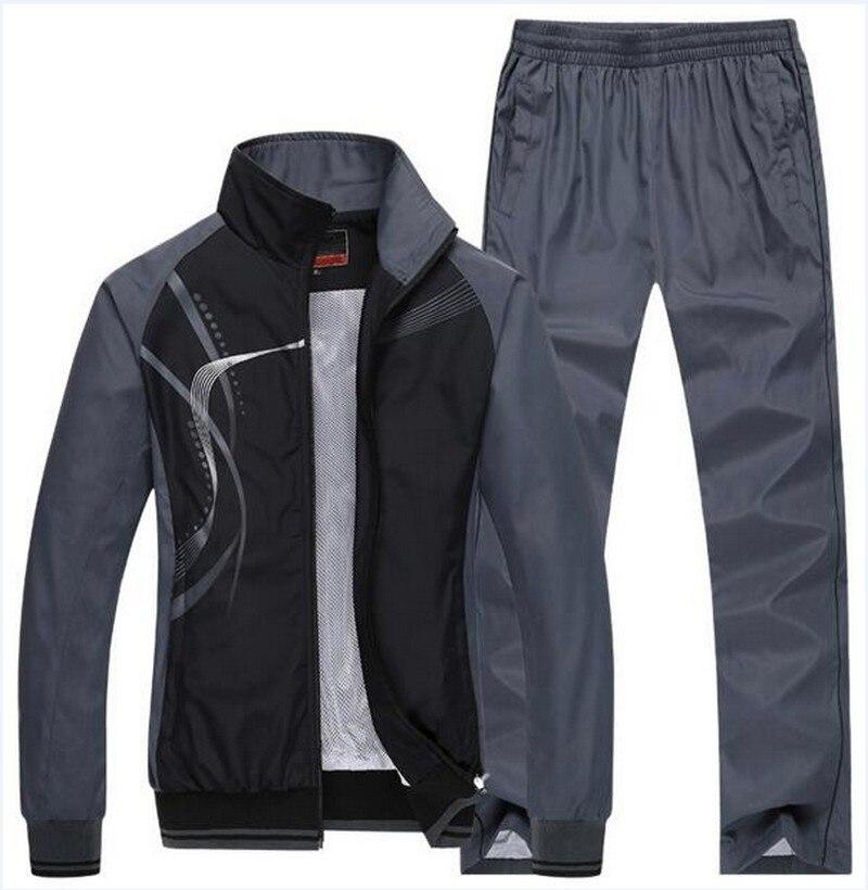 Nouveau Style de mode 2 pièces ensemble survêtement de sport hommes manteau 2018 sweat + pantalon Sportswear homme costume grande taille hommes Hoodi 50014