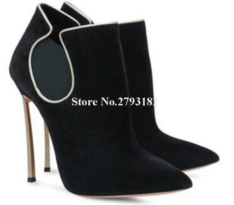 Women New Fashion Pointed Toe Suede Leather Metal Stiletto Heel Short Boots Slip-on Red Blue 12cm Super High Heel Ankle Booties fashion catwalk pointed toe ankle boots for women candy color satin sock booties stiletto heel slip on botas mujer