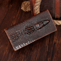 Free Shipping Man Genuine Leather Wallets Mens Long Pockets Crocodile Pattern Purse For Men