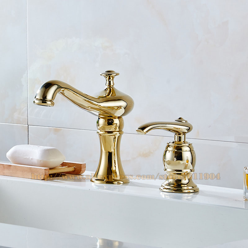 Merveilleux New 2 PCS Brass Bathroom Faucet Two Hole Basin Sink Faucet Mixer Taps Cold  Hot Water Tap With Drain Soap Dispenser Chrome Gold In Basin Faucets From  Home ...