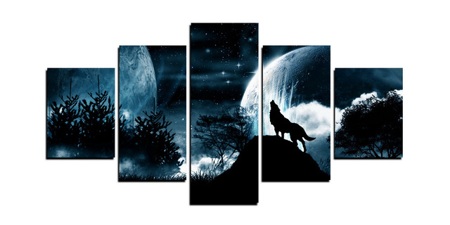 Wolf Wall Art aliexpress : buy 5 panels alone wolf wall art picture gift