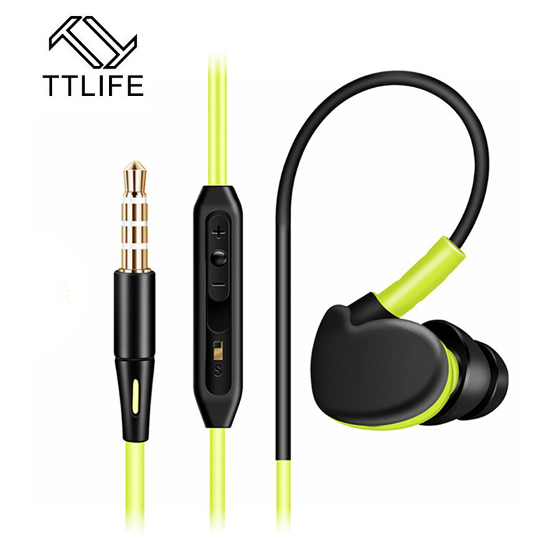 TTLIFE Stereo Ear Hook Sport Earphones with MIC Volume Control Earpiece Running Music Noise Reduction HIFI Earphones For a phone ipipoo ip dc2hi in ear earphones w replaceable wire mic next volume control silver black