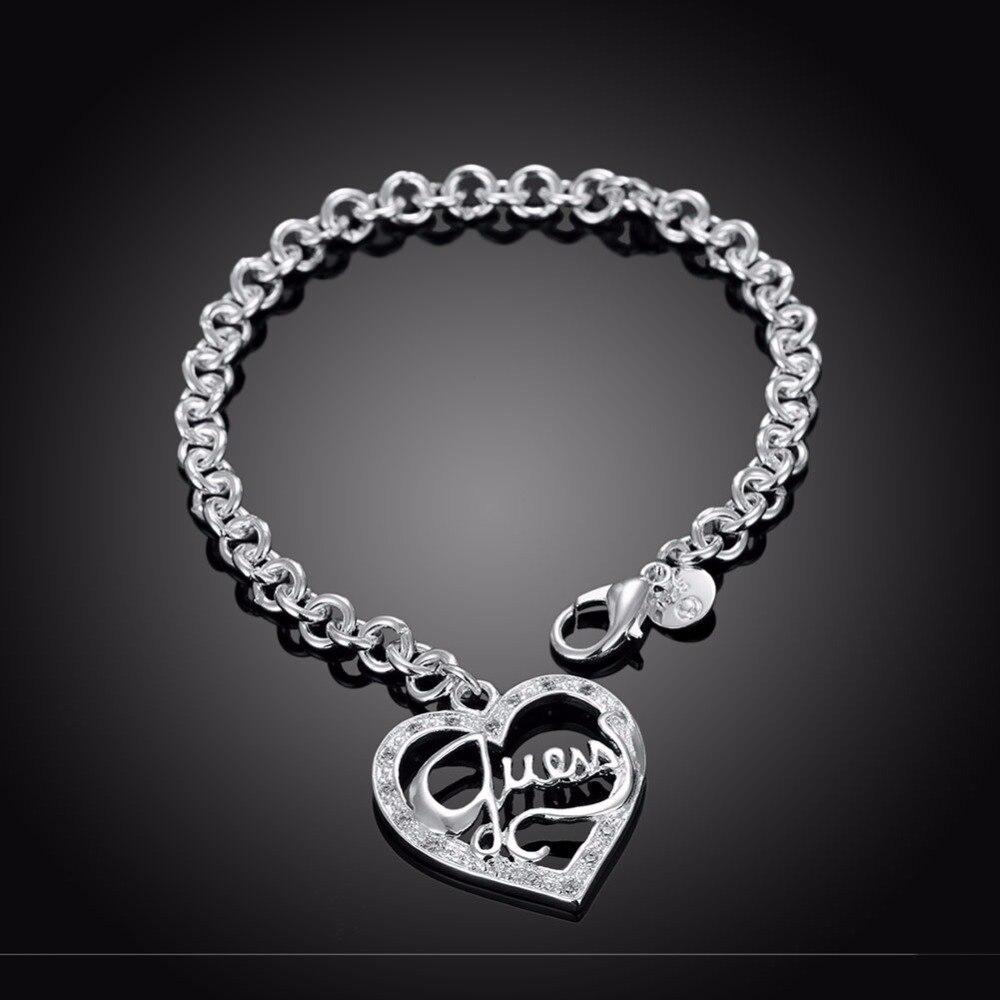 Prix pour Femmes de Bijoux De Mode 925 Sterling Argent chram Coeur Pendentifs Bracelet Manchette Bracelet cadeau sac H225