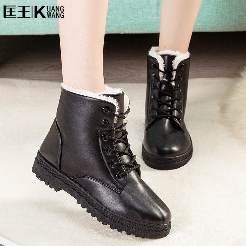 купить Winter Women Boots Wram Waterproof  PU Leather Snow Boots Women Platform Winter Fur Ankle Boots booties black Big Size 42 43 44 недорого