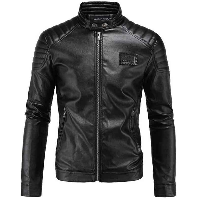 New Motorcycle Jacket PU Leather Men Vintage Retro Moto Faux Punk Leather Jackets Motorcycle Coats Slim Fit Stand Collar Size M- m 3xl hot 2018 spring men s new fashion conventional models slim collar pu leather jacket