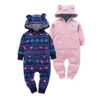 Fashion 2017 National Style Baby Clothes With Hooded Ear Cute Baby Girl Jumpsuits Soft Fleece Outerdoor