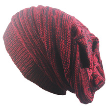 8ac5ce85315 autumn winter warm knitted Beanies hat for men women baggy Oversized Slouch Warm  Cap beanies Striped