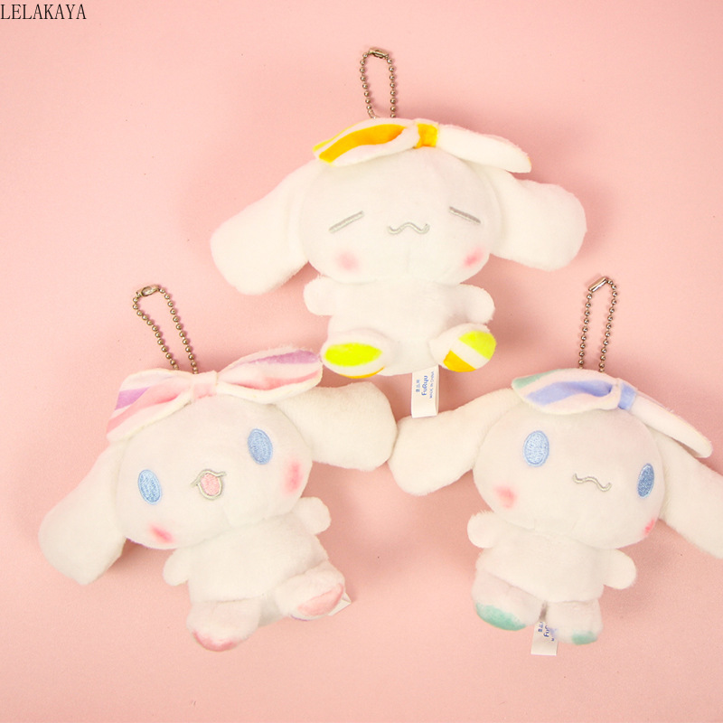 10CM Cute Cartoon My Melody Cinnamoroll Pudding Dog Mini Soft Plush Keychain Pendant Stuffed Animals Kawaii Bag Keyring Toys