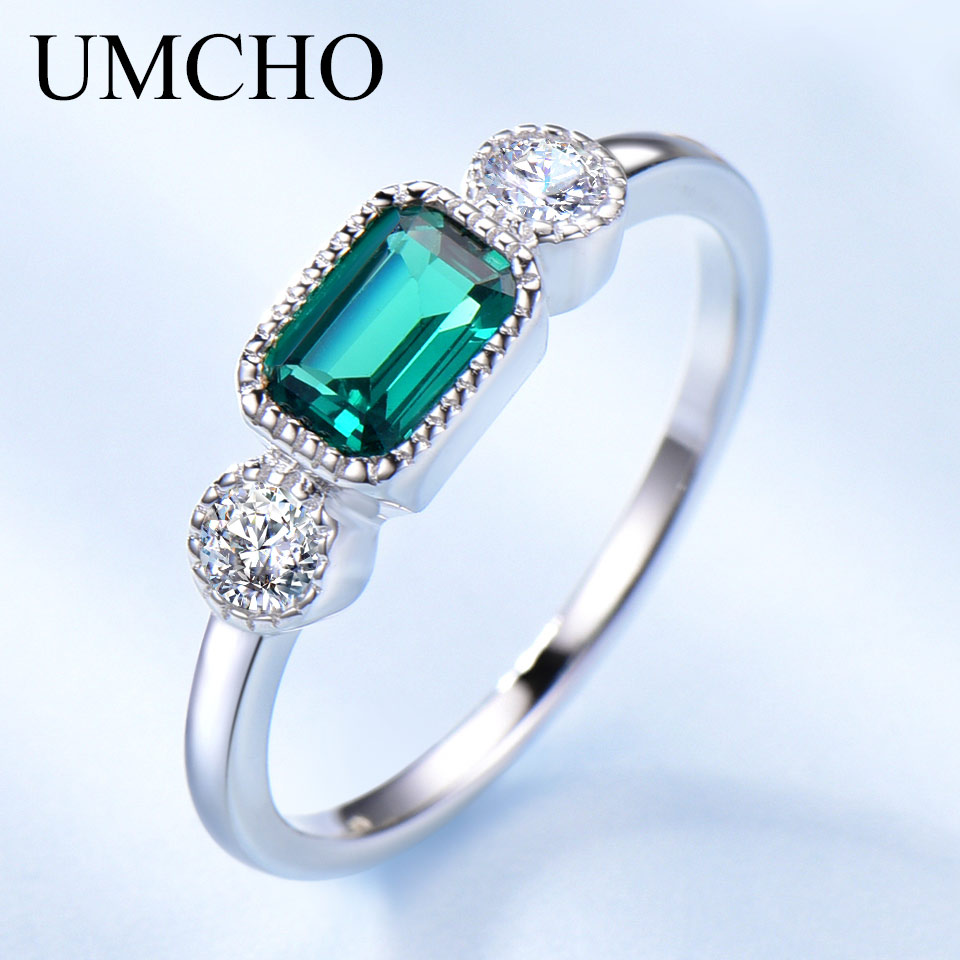 SQUARE EMERALD MAY BIRTHSTONE RING  Genuine Sterling Silver.925 Size 9