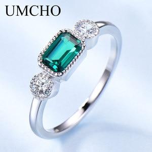 Image 1 - UMCHO anillos de plata de ley 925 auténtica de Nano Esmeralda rusa para mujer, anillo Vintage de piedra natal de mayo para mujer, joyería de marca fina