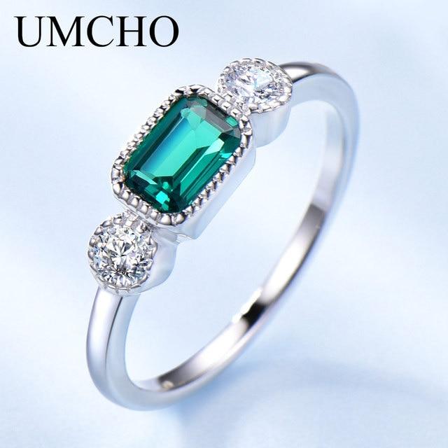 UMCHO anillos de plata de ley 925 auténtica de Nano Esmeralda rusa para mujer, anillo Vintage de piedra natal de mayo para mujer, joyería de marca fina
