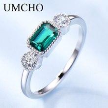 Umcho nano russo esmeralda real 925 anéis de prata esterlina para mulher pode birthstone anel do vintage para a marca feminina jóias finas