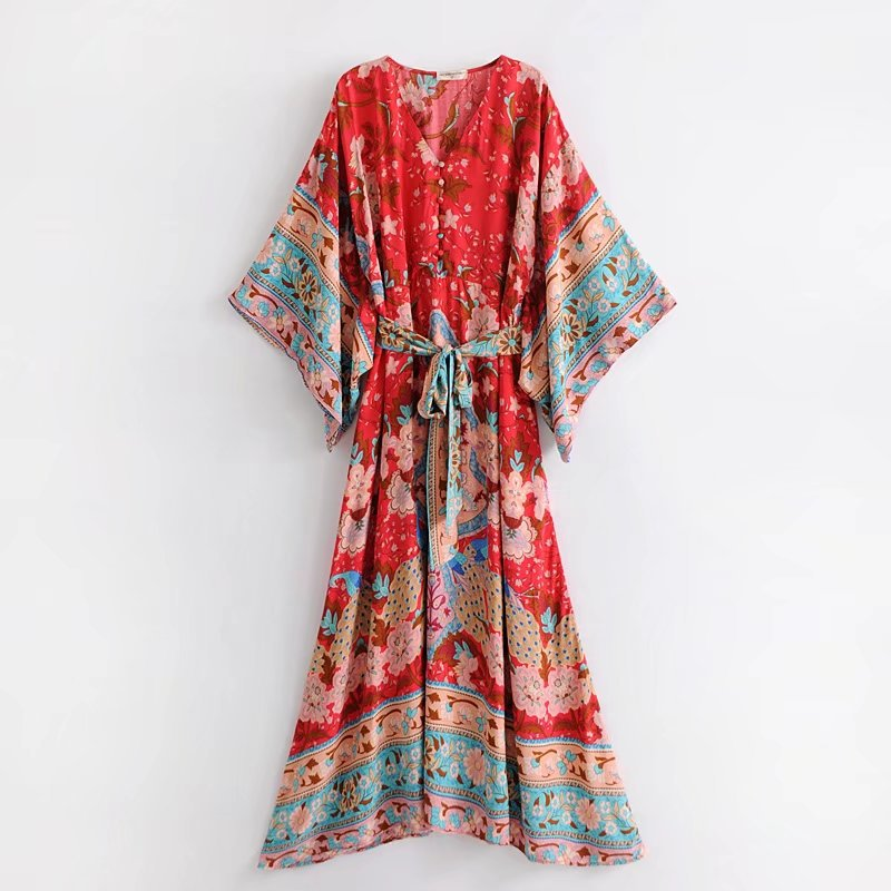 2019 été femmes mode col en v imprimé Floral Maxi robe manches chauve-souris Boho robe Vintage à lacets ceinture robe de plage