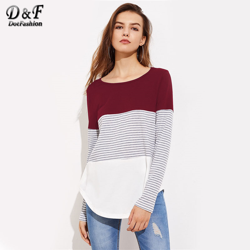 Dotfashion Striped Cut And Sew Curved Hem Tee Shirt 2017 Multi Color Women Round Neck Striped Long Sleeve Top Autumn T Shirt color block cut and sew leggings
