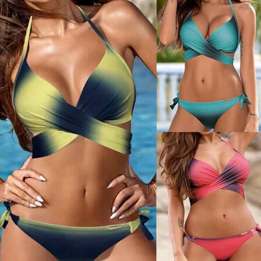 2018 nouveau Sexy dégradé couleur maillots de bain femmes Bikini ensemble Bandage push-up rembourré maillot de bain maillots de bain costumes biquini S-XXL 15