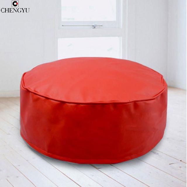 Novo Estilo de Cores Puras Banquinho Mobília da Sala de estar Para A Sala de estar de Moda PU Saco De Feijão Rodada Chão Cadeira Banquinho 50*20 CM