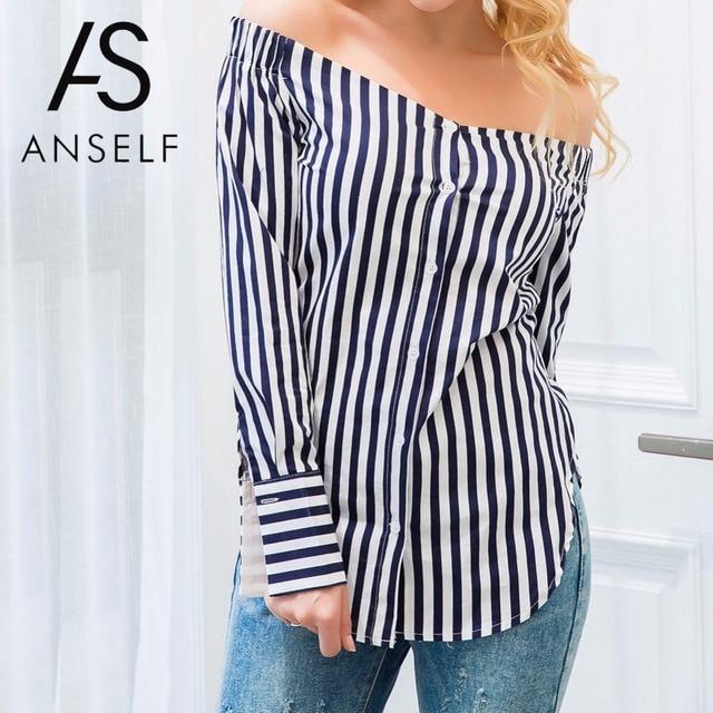 ANSELF Fashion Autumn Striped Print Women Off Shoulder Blouse Winter Long Sleeve Shirt Women Tops Vintage Ladies Blouses Blusas