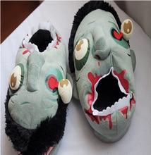 Hot Sale Creative Women Men Zombie Plush Slippers Geek Footwear Big Zombie Slippers Monster Funny Slippers For Halloween Gift
