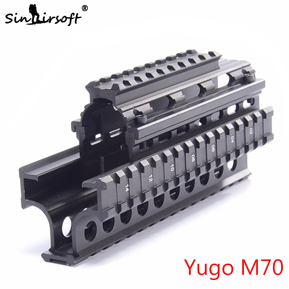 SINAIRSOFT Yugo M70 AK Quad Rails för AK 47/74 Jaktskytte Tactical Gun Quad Rail Rack Mount med 6st Covers