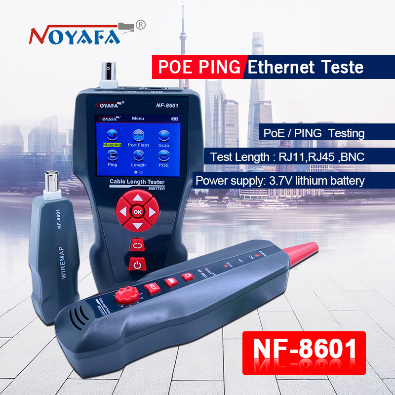 Hot NOYAFA NF-8601Multi-functional Network Cable Tester LCD Cable Length Meter Breakpoint RJ45 Tester Telephone Line Checker EU noyafa nf 8601 multi functional network cable tester lcd cable length meter breakpoint tester rj45 telephone line checker eu