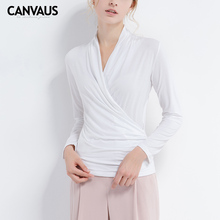 CANVAUS woman basic Bottoming shirt, women simple design clothing,solid v neck shirt, soft touch girl t ,office lady shirt,F230A