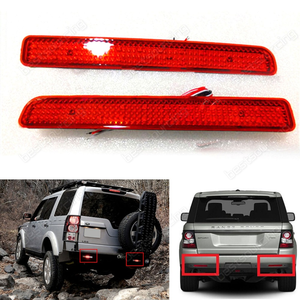 2 Range Rover Sport L320 Discovery 3 4 Rear Bumper Reflector LED Brake Light Red(CA183) for land rover tdv6 discovery 3 4 range rover sport oil pump lr013487