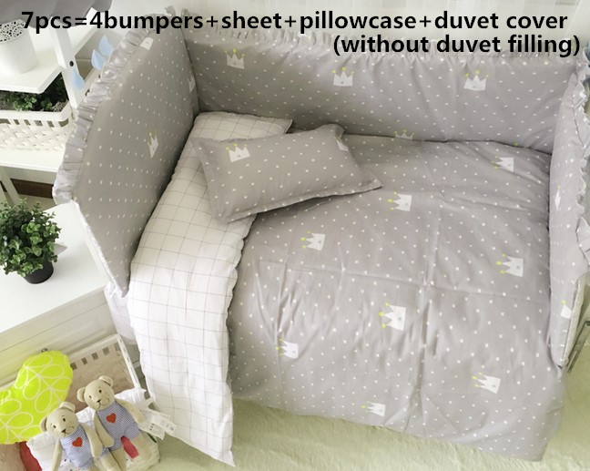 6/7PCS Baby Bedding Set Curtain Crib Bumper Bebe Cot Protector Baby Cot Sets Baby Bed Bumper Tour De Lit Bébé, 120*60/120*70cm
