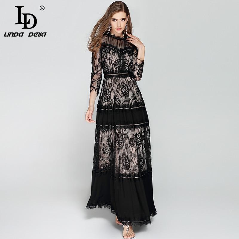 LD LINDA DELLA Printemps de Mode Designer Longue robe pour femmes 3/4 Manches Maille Dentelle Patchwork Vintage Noir robe maxi robe de fête